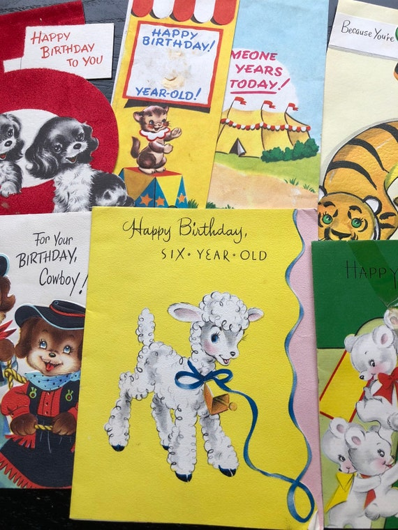 6 Sweet Little 1950s Kids Birthday Cards
