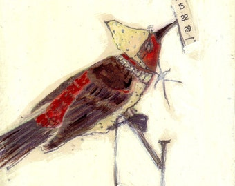 Bird Painting Collage Red and Yellow - 15 22 29