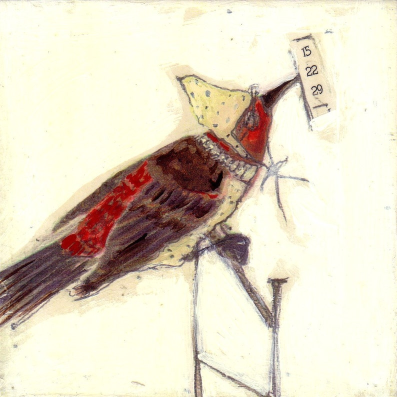 Bird Painting Collage Red and Yellow  15 22 29 image 0