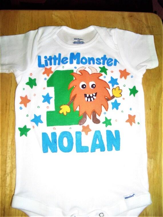 Little Monster Birthday Bodysuit First Shirt