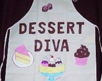 Dessert Diva Apron, Hostess Apron, Cotton Cooking Apron, Handpainted Apron