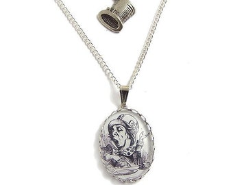 Alice in Wonderland charm necklace - The Mad Hatter top hat silver double strand pendant