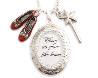 Wizard of Oz charm locket necklace There's no place like Home Ruby red shoes & wand Dorothy