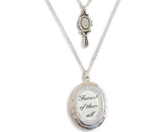 Fairest of them all Snow White necklace locket - fairytale double stranded silver charm necklace