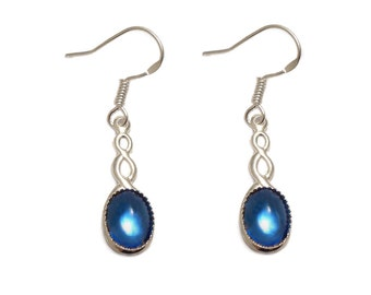 Sterling silver Celtic earrings Sapphire blue cabochon with a Sterling silver ear hook