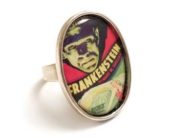 Frankenstein ring Frankenstein's monster silver adjustable Universal Studios Boris Karloff 1931 gothic goth