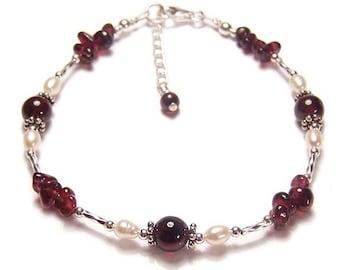 Sterling silver Garnet & pearl bracelet gemstone semi precious gem stone red ruby wedding