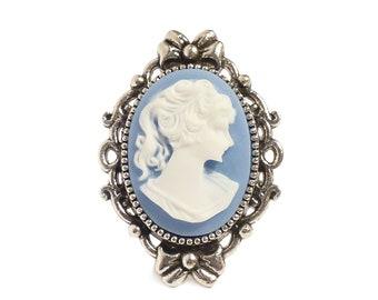 Victorian cameo ring Beautiful Blue lady adjustable ring elegant gothic goth Steampunk elegance
