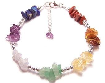 Chakra bracelet gemstone rainbow chips and Sterling silver - amethyst, lapiz lazuli, citrine, carnelian