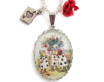 Alice in Wonderland necklace Painting the roses red silver charm playing cards pendant
