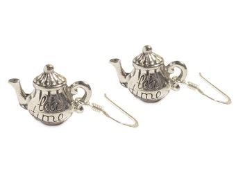 Darling little Tea Pot earrings - Alice in Wonderland Sterling silver earrings TEA TIME Teacup Mad Hatter's Tea party