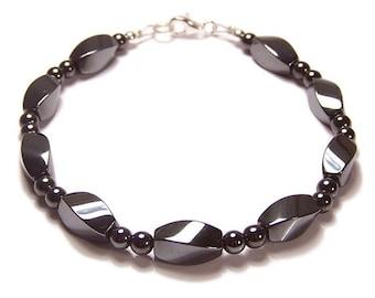 Unisex Hematite Sterling silver bracelet Twist design magnetic Haematite glossy grey black