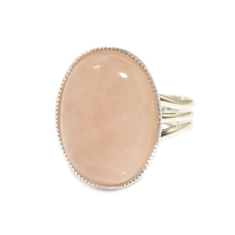 Rose Quartz Gemstone Ring Semi Precious Pink Gem Stone Oval Adjustable 18 x 13 mm Silver Plated