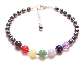 Sterling silver chakra bracelet rainbow multi gemstones and magnetic hematite - amethyst, garnet, lapiz lazuli