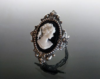 Victorian gothic cameo filigree ring Classic Black & white - goth steampunk elegance