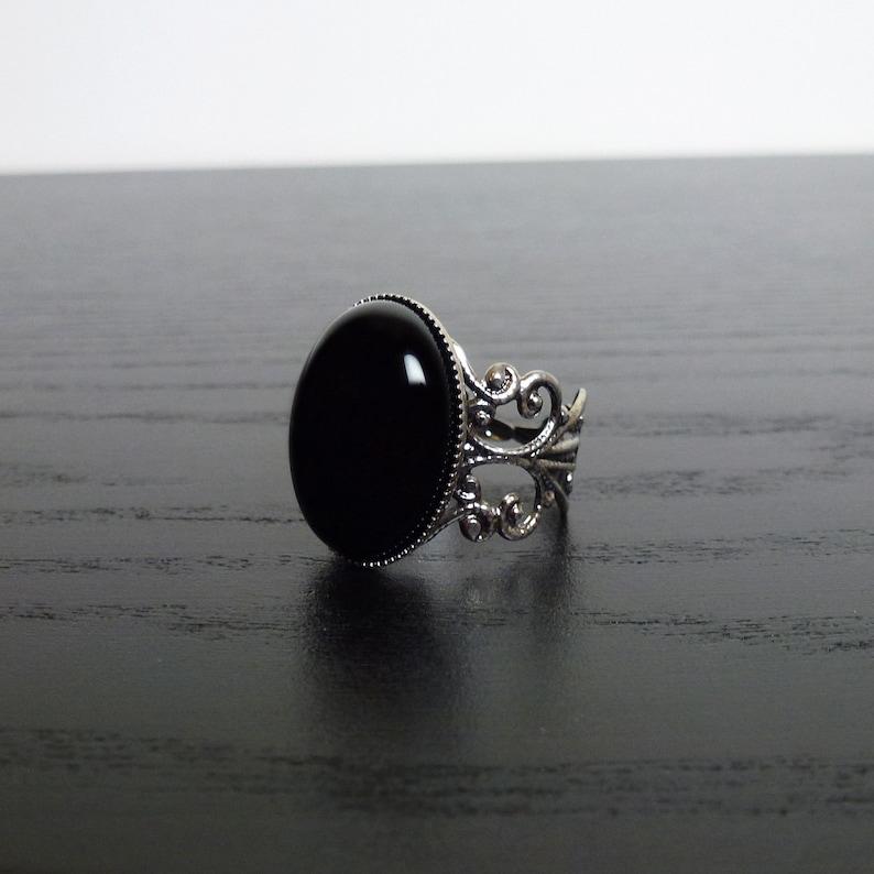 gothic goth steampunk elegance Victorian Black Onyx filigree silver ring
