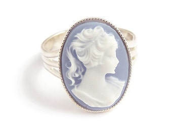 Beautiful Blue Victorian cameo ring elegant gothic goth Steampunk elegance