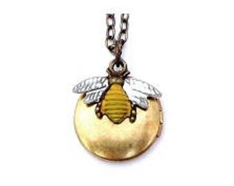 "Honey Bee Locket 20"" Antiqued Brass Chain"