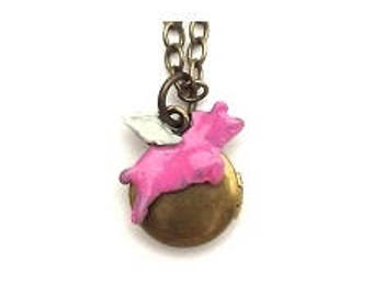 """Flying Pig Small Locket 20"""" Antiqued Brass Chain"""