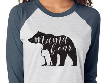Mama Bear Ladie's 3/4 Sleeve Raglan Jersey Shirt - Vintage Color Shirt with Black Vinyl Bear and Cub and Mama Bear Hand Lettered Inside