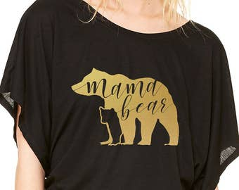 Mama Bear Ladie's Flowy Dolman Shirt - Black Shirt, Matte Gold Metallic Vinyl Bear with Bear Cub Silhouette and Hand Lettering Inside