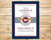 DIGITAL Vintage Flyer Invitation - Little Pilot Birthday Invite in Red, Navy, Gold, and White with Plane Silhouette and Wings
