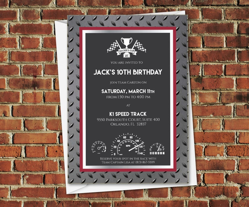 DIGITAL Racer's Cup Speedway 5x7 Racing Invitation in black, gray, red,  diamond plating, and chrome
