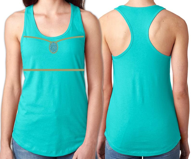 f4c8f333d844f Jasmin Shirt débardeur nageur turquoise or corsage bijou