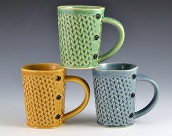 Medium Tea Cup Mug Knitted Pattern, tea cup, tea mug, Buttons MADE TO ORDER