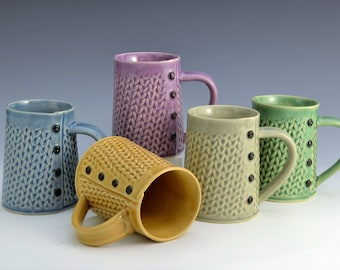 Knitted mug Handmade ceramic mug MADE to ORDER