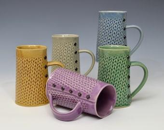 Jumbo Knitted mug Handmade ceramic mug 20 oz MADE to ORDER