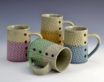 Two Tone Knitted mug Handmade ceramic mug MADE to ORDER