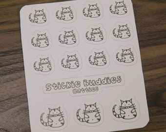 cat stickers vinyl stickers to color for planners, scrapbooking etc. stickie buddies