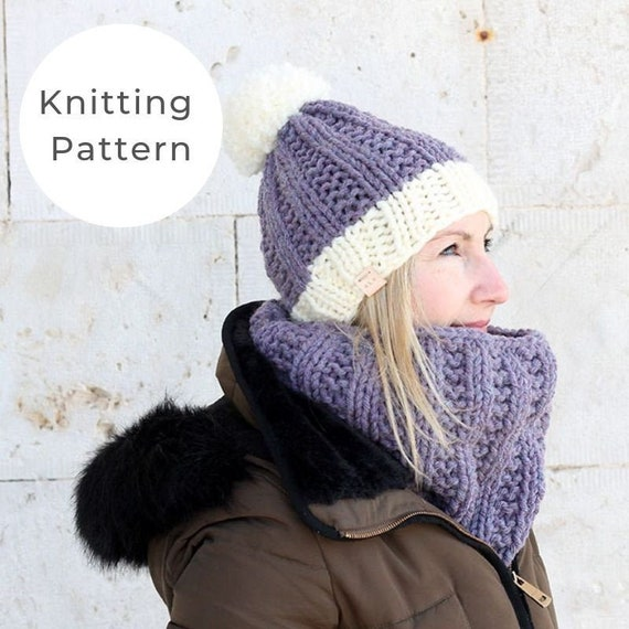 Knitting Pattern / Chunky knit hat and cowl / Winter hat pattern / Easy hat  knitting pattern / Chunky cowl pattern / Easy cowl pattern