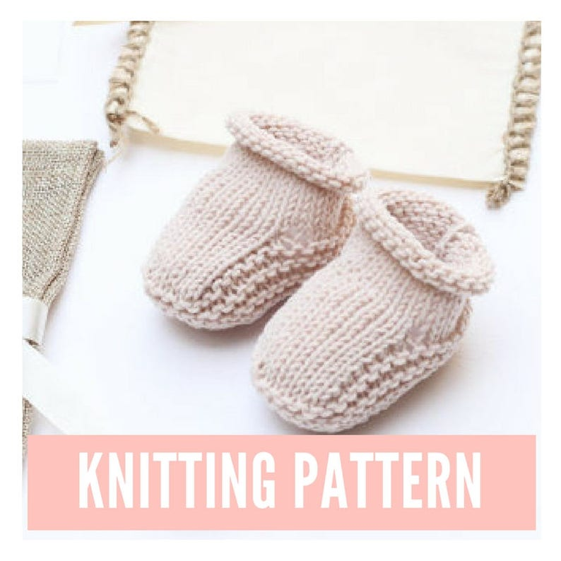 Baby Booties Knitting Pattern Easy Knit Baby Booties Baby Etsy