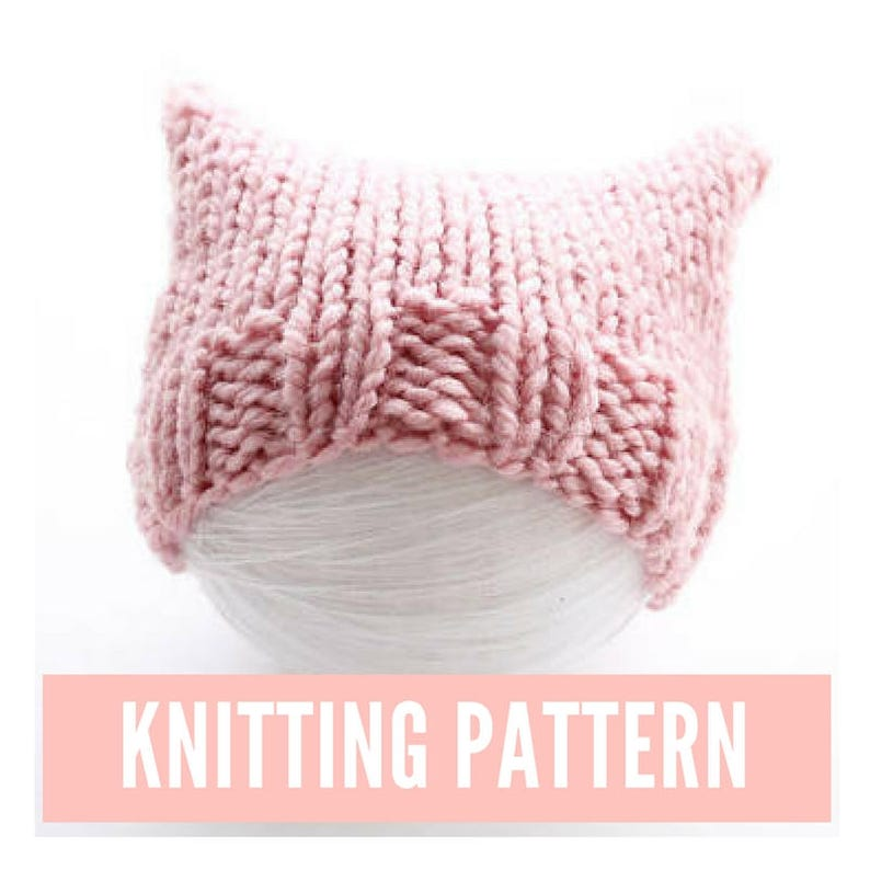 f59a421740a Pink cat hat knitting pattern pussyhat for baby easy hat