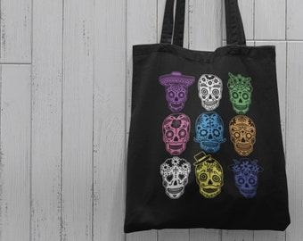 Tote Bag Sugar Skull Large Cotton Tote \u2013 Fabric Shoulder Bag Shopping Tote \u2013 Custom Tote Bag Reusable Shopping Bag \u2013 Market Skull Bag French