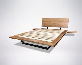 Solid Wood Platform Bed- Nelson White Oak, Cherry, Walnut, Maple