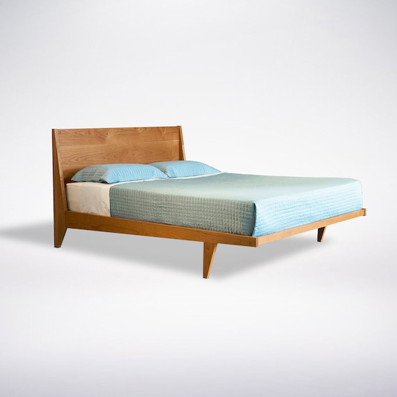 modern platform bed frame mid century solid wood king queen full twin