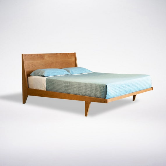 Modern Platform Bed Frame -Mid Century - Solid Wood- King Queen Full Twin
