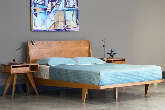 info for 17b4d 31393 Modern Platform Bed Cherry Mid Century Modern Danish Solid Wood twin full  double queen king Organic Finish