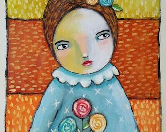"Original painting | folk style 12 x 16"" |  Denise Baldwin | Oddimagination"