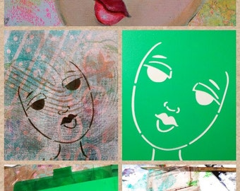 STENCIL Original face stencil Fantasy Face - use in your mixed media work - reusable Art Stencil