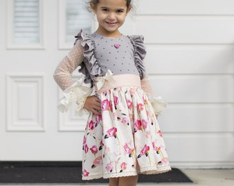The Coralie Knit/Woven Dress PDF Sewing Pattern Size 12 month - 12 year Girls Toddler Tween