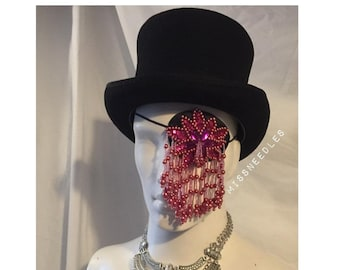 Fuchsia beaded tassel decadent burlesque vintage eye patch performance goth romantic unique drag queen  show girl stage wear circus fetish