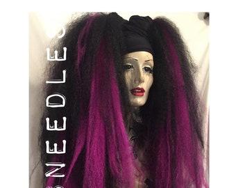 MissNeedles black stretch fabric hair band to wear with falls wigs hair extensions dreadlocks headband bandeau head wrap hippy boho gothic