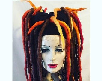 Fire and browns Wool Dreadlocks falls a MissNeedles exclusive design 2 x bunches of dreads goth  hippy steampunk fire pixie fairy locks