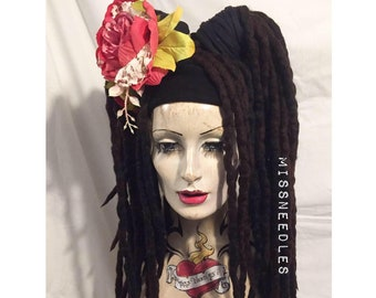 Wool Dreadlocks falls a MissNeedles exclusive design, 2 x bunches of dreads in all natural tones of brown bohemian earthy hippy forest locks
