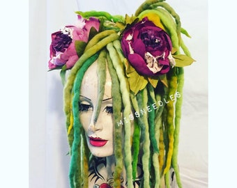 Vibrant greens blend Wool Dreadlocks falls a MissNeedles exclusive design 2 x bunches of dreads goth  hippy mermaid forest pixie fairy locks