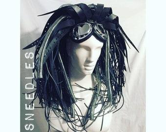 Cybergoth Silver & black Rubber Unisex no hair needed Club kid Hybrid Wig Goth Punk Cyber Rivet cyberlox cosplay anime manga goggles rave